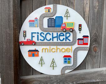 City Scene Name sign | Boys Room Decor | Transportation theme nursery | Baby Nursery Decor | New baby Gift | Personalized Crib Name SIgn