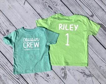Personalized Cousin Crew shirt. Name and Birth Order Cousin Crew shirts. Cousin Squad. Cousin tribe. All sizes. Ships in 4-6 Business days!