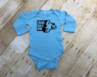Crawl Walk Ride infant long sleeve one-piece. Infant bodysuit or longsleeve kids shirt. Motocross baby gift. Dirt bike baby gift.