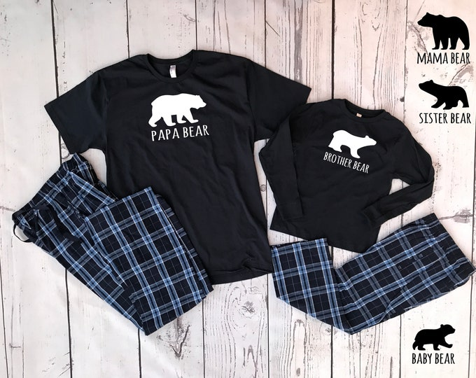Featured listing image: Bear Family Christmas Pajama set | 6M to Adult 2X | Infant toddler: Solid Navy pants |Youth and Adult Plaid Pants | Matching Family Pajamas.