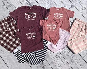 Cousin Crew (for life) Buffalo Plaid Christmas Pajama set.  Newborn to 2XL Burgundy and Pink. Holiday Pajama sets. Family Reunion Shirts
