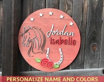 "18"" 20"" or 22"" Round Mountain Landscape Custom Wooden Name Plaque 