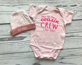 New to the Cousin Crew for life bodysuit and hat for baby girl. Personalized Gift. New to the Crazy Cousin Crew. Newborn baby girl gift.