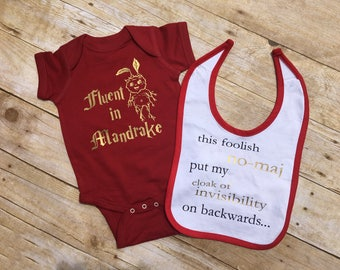 Fluent in Mandrake. Fluent in Mandrake infant one-piece and baby bib gift set. Fast shipping!