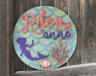 Personalized Mermaid Sign | Custom Name Plaque | Nursery Decor | Baby Room Decor | New baby Gift | Mermaid scales 18, 20 or 22 inch round