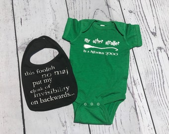 My other stroller is a Nimbus 2000 Infant Bodysuit and baby bib. Baby Shower gift set. Wizard Baby. Nerdy baby gift. Fandom Baby gift.