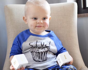 Stud Muffin shirt. Boys 3/4 Sleeve Raglan shirt. Toddler & Youth 2T-XL. 8 color options! Foodie Shirt. Fast Shipping!