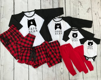 Bear Family Buffalo Plaid Christmas Pajama set. ALL sizes. Black, White and Buffalo Plaid. Holiday Pajama sets. Family Reunion Shirts