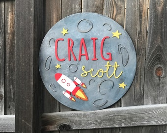 "18"" or 22"" Round Moon and Rocket Name Wood Sign 