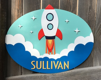 Rocket Name sign | Galaxy Room | Outer Space Sign | New baby Gift | Boys Nursery Decor | Celestial nursery Decor | Oval 15 by 19 inches
