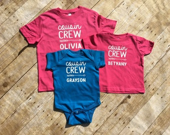 Personalized Cousin Crew shirts. Family Reunion Shirts. Cousin Shirts. Cousin Club Cousin Squad. Cousin tribe. All sizes. Cousins Besties