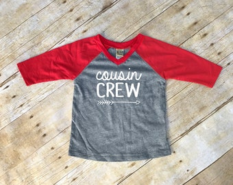 Cousin Crew. Infant Cousin Crew Red & Dark Heather 3/4 sleeve Raglan. Cousin Squad. Cousin tribe. Family shirt set.