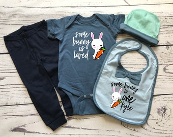 Some Bunny is Loved. Some bunny is One Bunny shirt.  Cute kids birthday shirt. Baby birthday gift set.  First birthday
