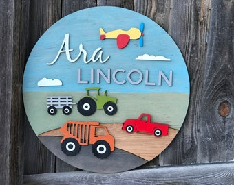 "Round Vehicle name sign | Boys Nursery Decor | Cars Sign | Baby Wall Decor | New baby Gift | Farm and Construction Equipment 18"" 20"" or 22"""