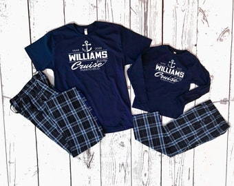 Family Cruise Pajama set | 6M to Adult 2X | Infant toddler: Solid Navy pants |Youth and Adult Plaid Pants | Matching Family Pajamas.