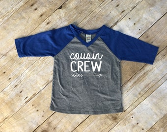 Cousin Crew. Infant Cousin Crew Royal & Dark Heather 3/4 sleeve Raglan. Cousin Squad. Cousin tribe. Family shirt set.