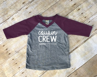 Cousin Crew. Infant Cousin Crew Pinot & Dark Heather 3/4 sleeve Raglan. Cousin Squad. Cousin tribe. Family shirt set.