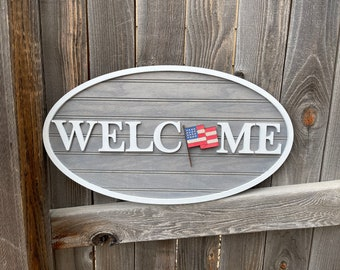 """Interchangeable welcome sign   welcome to our home 12"""" by 20""""   Housewarming gift   wedding gift   New home gift"""
