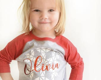 Winter shirt. Personalized Snowflake shirt. Christmas 3/4 Sleeve Raglan shirt. Toddler & Youth sizes, Fast Shipping! Christmas Photo Prop