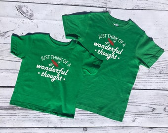 Just think of a wonderful thought Peter Pan Shirt infant, toddler & youth sizes.  Lost boys Neverland shirt. Family Vacation shirts.