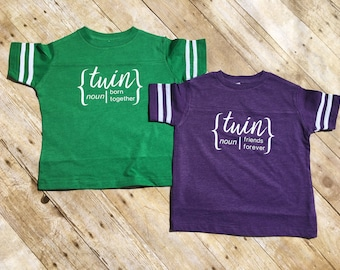 Born together, Friends Forever. Born together best friends forever shirt set. Twin Football shirt set. Includes both shirts! Twins outfit