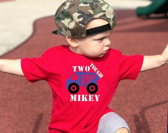 Personalized two tough shirt. Birthday shirt. Truck shirt. Truck theme birthday. Customize with Kids name!