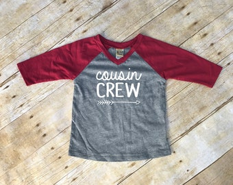 Cousin Crew. Infant Cousin Crew Garnet & Dark Heather 3/4 sleeve Raglan. Cousin Squad. Cousin tribe. Family shirt set.
