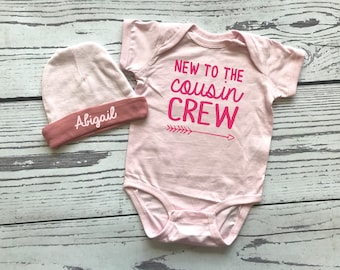Cousin Crew bodysuit and hat for newborn girl. Personalized Gift. New to the Cousin Crew shirts. Newborn baby girl gift.