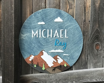 "18"" or 22"" Round Mountain Landscape Name Wood Sign 