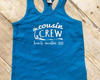 Cousin Crew (for life) tank top. Cobalt Blue Cousin Crew shirts. Cousin Squad. Cousin tribe. Girls, toddler and infant sizes | CLOSEOUT |