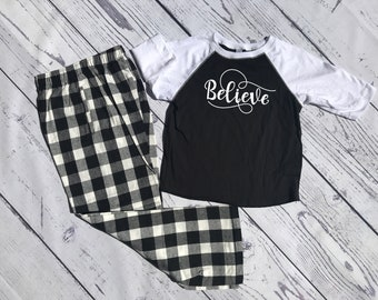 Believe Buffalo Plaid Christmas Pajama set. Youth and Adult Black and White. Holiday Pajama sets. Cheerleader Pajamas