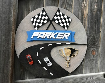 """Race Car Name Plaque 