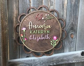Floral Round Wood Name Sign | Custom Name Wood Sign | Wood Cutout | Handcut | Nursery decor | Door Hanger | Name Sign | Baby Decor