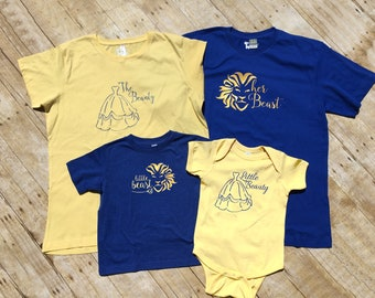 Beauty and the Beast Family Shirt set.  Cruise Vacation shirts. Beauty and the Beast shirts. Family Vacation Matching  Shirts