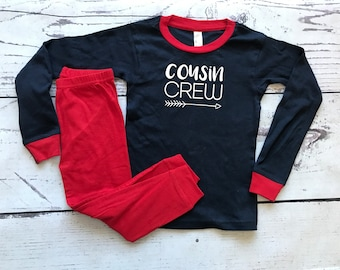 Cousin Crew Pajamas. Red White and Blue. The Original Cousin Crew Infant and toddler sizes 6 - 5/6 Cousin Pajama sets. Family Reunion Shirts
