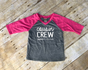 Cousin Crew. Infant Cousin Crew Hot Pink & Dark Heather 3/4 sleeve Raglan. Cousin Squad. Cousin tribe. Family shirt set.