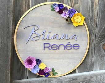 """Floral Wreath Wooden Plaque 