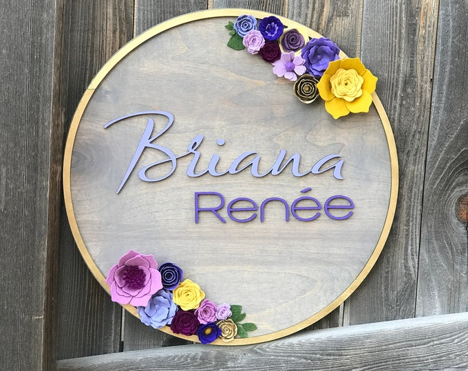 """Featured listing image: Floral Wreath Wooden Plaque 