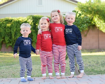 Infant, Toddler and Youth Cousin Crew Pajamas. The Original Cousin Crew Pajamas 6 months - Youth 14 Cousin Pajama sets - Red and Navy