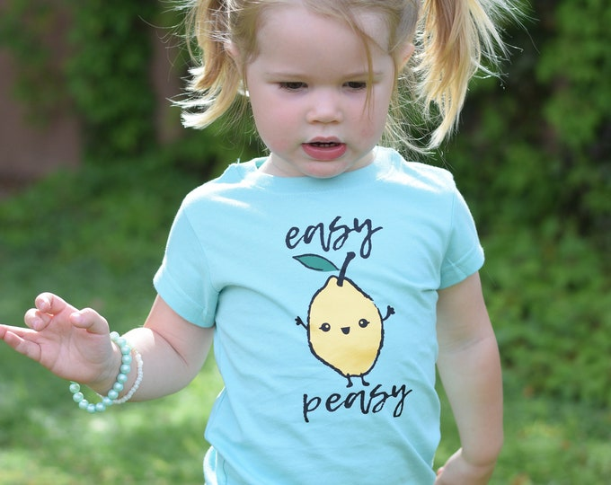 Featured listing image: Easy Peasy lemon shirt. Cute Summer Shirt. Kawaii Fruit shirt. Cute Farmers market shirt: infant, toddler and youth sizes. Lemon shirt