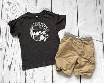 Life is better at the lake shirt.  Lake vacation shirts. The Lake is my happy place.  Sizes NB -3XL Lake Bum
