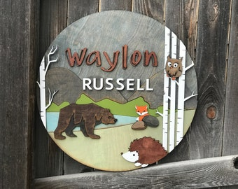 "18"" 20"" or 22"" Round Woodland Name Plaque 