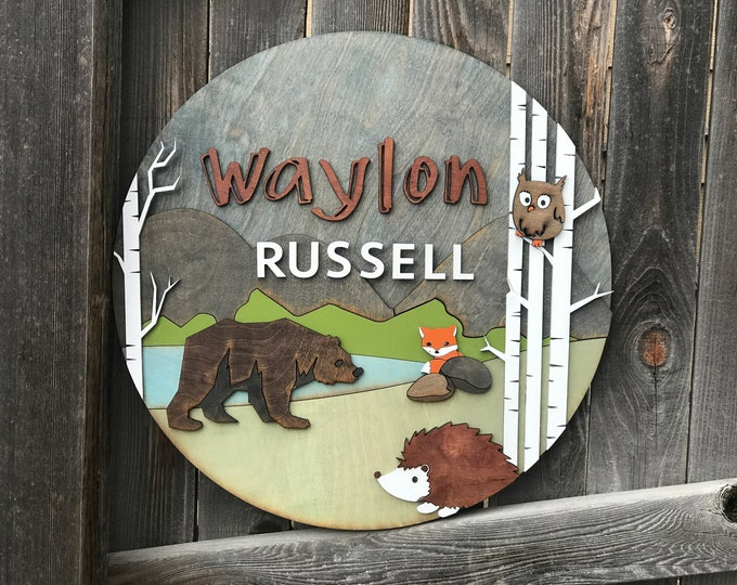 """Featured listing image: 18"""" 20"""" or 22"""" Round Woodland Name Plaque 