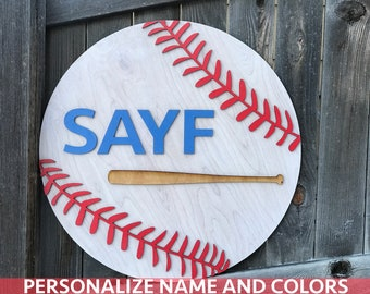 "18"" 20"" or 22"" Round Baseball Wooden Name Sign 