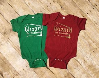 Wizard in training. Wizard Baby. Wizard Shirt. Infant Bodysuit. Wizard School. Wizard Baby Shower gift. Fast Shipping!