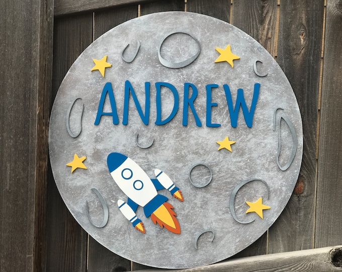 Featured listing image: Moon and Rocket sign | Galaxy Room Decor | Outer Space Name Sign | New baby Gift |  celestial nursery | outer space nursery| round name sign