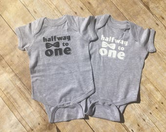 Half birthday. Boy Half birthday. Halfway to One. 1/2 birthday. Cute baby clothes. Fast shipping!  Message me for inventory!