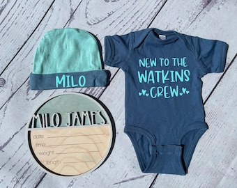 Personalized Birth Announcement Set For Baby Boy | Birth Stat Sign , Bodysuit and Hat | Hospital Name Sign | Newborn Photo Prop |