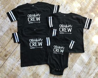The Original Cousin Crew shirt. Cousin Tribe. Cousin Squad. All sizes NB - 3XL.  Family Football shirt set. Ships in 4-6 Business days!