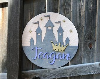 "Princess Castle Name Sign | Girls Room Decor | Princess Name Sign | Baby Wall Decor | New baby Gift | Girls Nursery 18"" 20"" 22"" or 24"" Round"